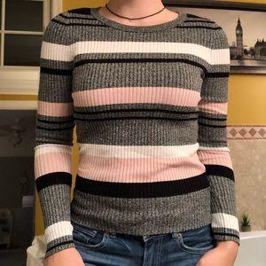 Striped thin knit sweater